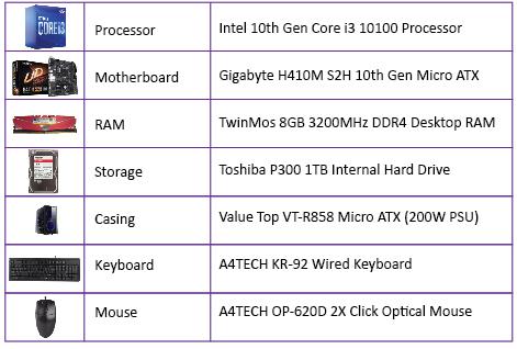Exclusive Gigabyte H410M-Intel 10th Gen Core i3-10100 PC